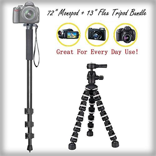 "Versatile Full Sized 72"" Monopod + 13"" Rugged Flexible Tripod Bundle for Pentax Optio S10 - Portable Tripod, Flexible legs Camera Support"