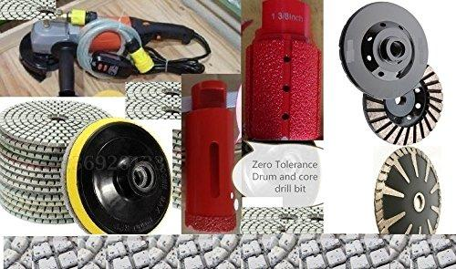 "Wet Polisher 12 Granite Polishing Pads 1-3/8 Inch Diamond Zero Tolerance Drum 1-3/8"" Welded Core Drill Bit Hole Saw concrete marble polishing sink hole cutting counter top kitchen faucet hole cutting"