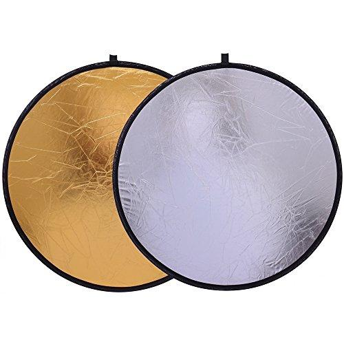 Reflector Panel 24-inch / 60cm 2-in-1 Collapsible Gold and Silver Disc Light Reflector with Bag - Translucent Photo Studio Lighting & Outdoor Lighting