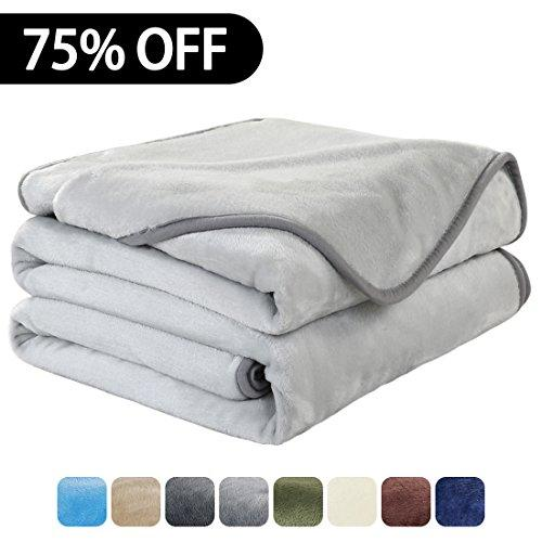 Luxury Super Soft Travel Size Blanket Warm Fuzzy Microplush Lightweight Thermal Fleece Blankets for Couch Bed Sofa,Throw,60 by 61 Inches,Silver Gray