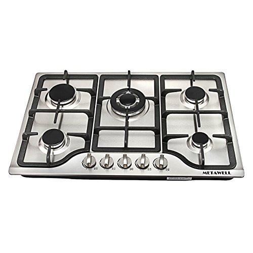 "METAWELL New 30"" Stainless Steel 5 Burner Built-in Stoves Natural Gas Hob Cooktops Cooker"