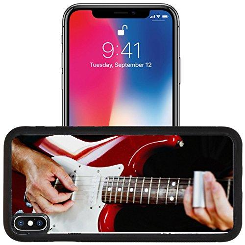 Luxlady Apple iPhone x iPhone 10 Aluminum Backplate Bumper Snap Case IMAGE ID 31511081 Guitarist playing vintage fender stratocaster guitar