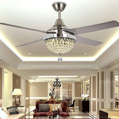 TiptonLight Modern Crystal Chandelier Ceiling Fan Lamp Folding Ceiling Fans With Lights Chrome Ceiling Fan With Light Dining Room Decorative with Remote Control (44 inch, silver)