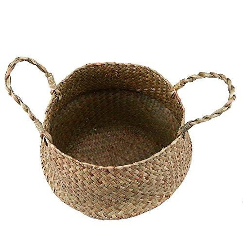 Yalulu S/M/L DIY Rattan Basket Foldable Flower Pot Wicker Storage Basket Woven Seagrass Dirty Laundry Basket Hamper Home Decor (S,22*20cm)