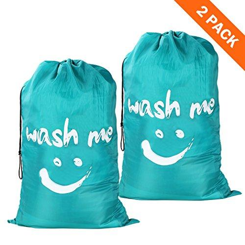 Wimaha 2 Pack Drawstring Laundry Bag Extra Large Durable Handy Travel Fabric Polyester Storage Bag for Blouse, Hosiery, Underwear, Delicates, Garment, Shirts, Stocking Socks, Teal