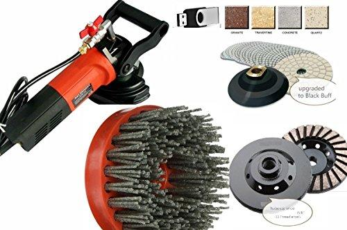 Wet Polisher Diamond 20 Polishing Pad 2 Buffer 2 Grinding cup 2 silicon carbide antiquing brush granite marble concrete floor tile countertop paint epoxy refinishing natural stone fabricating DVD