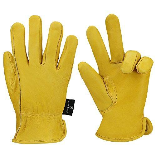 Heavy Duty Industrial Safety Gloves cowhide Leather Gloves for Rubbing Jewelry/Driving/Riding/Gardening/Farm - Extremely Soft and Sweat-absorbent - Perfect Fit for Men & Women (Extra Large)