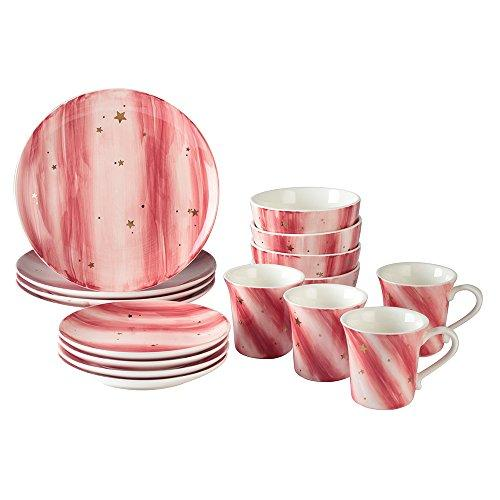 Starry Sky 16-Piece Dinnerware set, DL Stylish Service for 4, Blushed Red