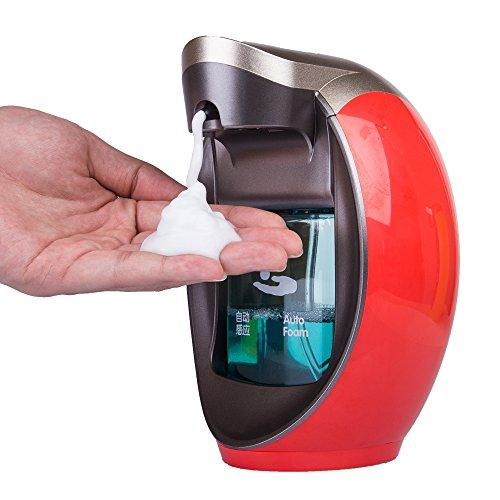 Yooap Auto-induction Sensor Pump 480ml/16 oz. Touchless Hand-free Soap Dispenser for Bathroom, Kitchen or Hotel Countertops(red)