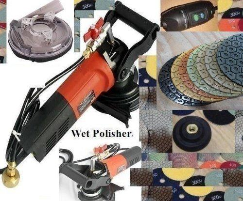 "7"" Variable Speed Wet Polisher Dust Shroud 7 Inch Diamond Polishing Pad concrete Granite Marble Stone Quartz Masonry Countertop floor tile grinder smoothing buffing renew repair"