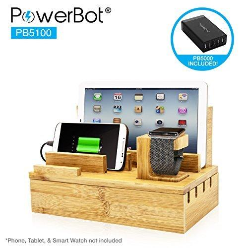 PowerBot PB5100 40Watt 8Amp 5 USB Port Rapid Charger Universal Desktop Charging Station w/Bamboo Finish, Multi Device Charging Dock, Organizer Stand for Tablets, Apple Watch, Smartphones up to 5.7""
