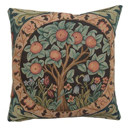 "Woven European jacquard tapestry cushion covers. Orange Tree - William Morris. 14 x 14"" - Detailed hand finished designer decorative throw pillows for couch and sofas."