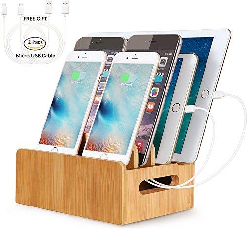 Real Bamboo Docking Station Organizer for Multiple Devices, HecoPro Desktop Charging Stations for Apple/Android Phone/iPad Include 2 Micro USB Cables - 4 Port