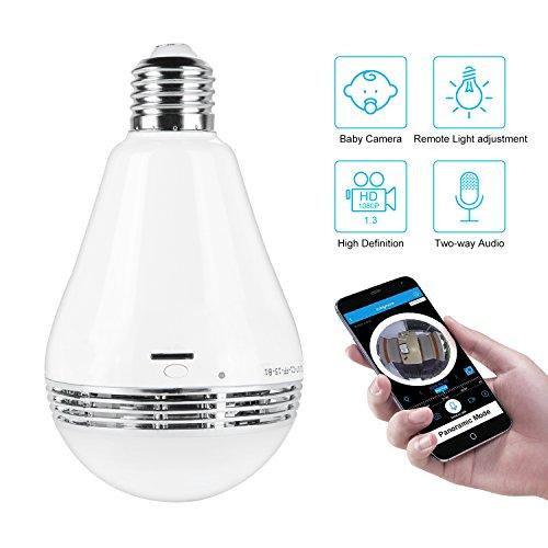 WIFI Camera Bulb VR Panoramic Bulb Camera with 360 Degree Fisheye Lens Wireless Camera for home Led Lights Bulb for Home Security System Camera Android IOS APP White