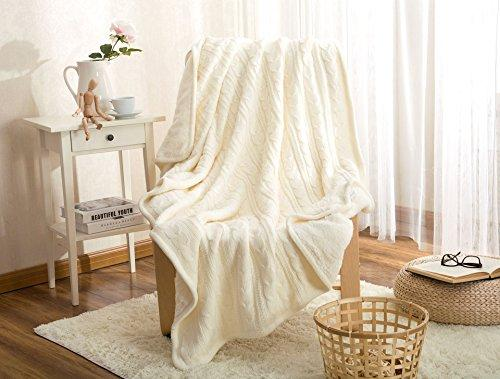 Luxury Cotton Cable Knit Throw Blankets, Bed Blanket by Bedsure-100% Plush Microfiber Warm/Cozy/Fluffy, Lightweight and Easy Care, Couch Blanket, 47x71 Inches Snow white-Megach