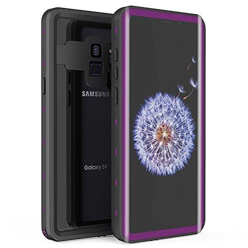 Samsung Galaxy S9 Waterproof Case, Fansteck IP68 Waterproof/Snowproof/Shockproof/Dirtproof, Full Body Protective Case with Built-in Screen Protector for Galaxy S9 (5.8inch) (Black/Purple)