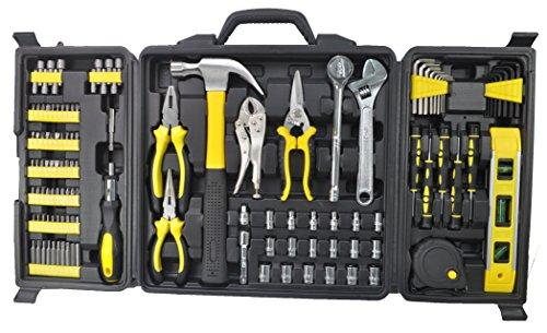 Longmate 124pcs Tool Kits Portable Home Repair Tool Sets Genaral Household Hand Tool Kits with Plastic Storage Case