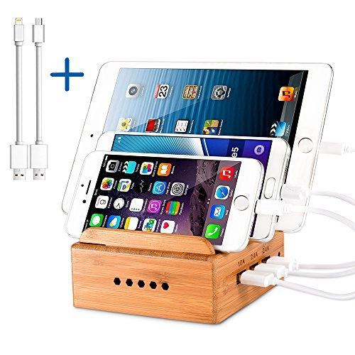 VEGO Bamboo Multi-Device Charging Station Stand Desktop Organizer with 3 Port USB Charger for iPhone, iPad, Kindle, Cellphone, Tablets (3-Port)