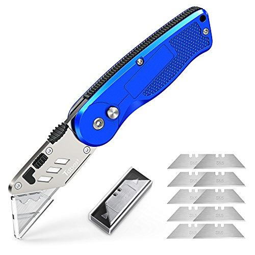 Tdbest Folding Box Cutter Utility Knife with 11 Replaceable Stainless Steel Blades Quick Change and Lock-Back Design Perfect Sharp Knife for Cutting Carton Leather Wallpaper and More
