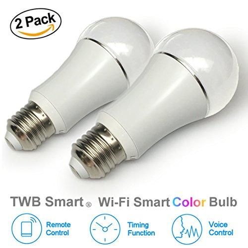 TWB Smart LED Light Bulb, Wi-Fi Dimmable Color Smart Bulb, Compatible with Alexa, Amazon Echo Dot Accessories, and Works with Google Home, Built-In Timer Switch for Smart Home Automation (50W 2-Pack)