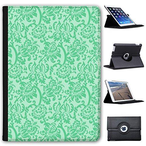 "Leather Case For Apple iPad 9.7"" 5th Generation (2017 Version) - Mint Green Floral Wallpaper Design"
