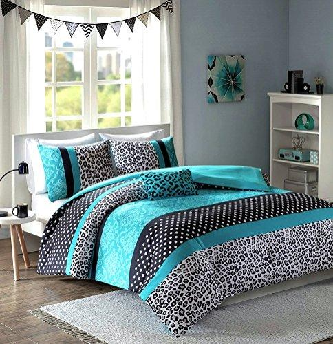 Teen Girls Black Teal Bedding Comforter Damask Leopard FULL QUEEN Bedspread White Aqua Blue Set + Shams + Adorable Throw Pillow + Home Style Sleep Mask Polka Dot Comforters Sets for Girl Kids