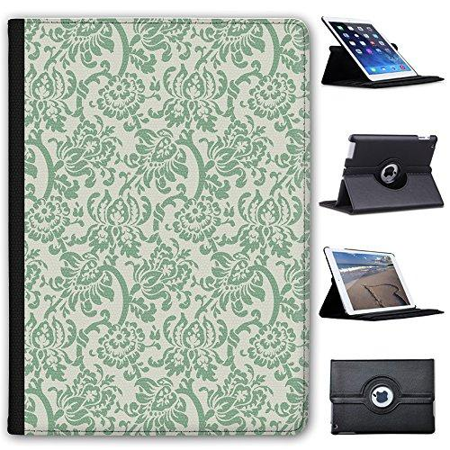 "Leather Case For Apple iPad Pro 9.7"" (2016 Version) - Green Floral Wallpaper Design"