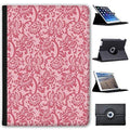 "Leather Case For Apple iPad 9.7"" 5th Generation (2017 Version) - Red Floral Wallpaper Design"