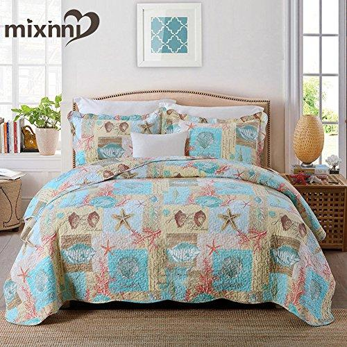 mixinni Bedding Sets Coastal Starfish Seashells 3 Piece Quilted Coverlet Set - Beach Theme House Nautical Patchwork Cotton Quilts and Comforters- Full/Queen