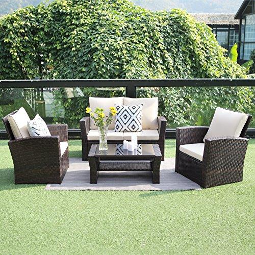 Wisteria Lane Outdoor Patio Furniture Set, 5 Piece Garden Rattan Sofa Wicker sectional Sofa Seat with Coffee Table,Brown