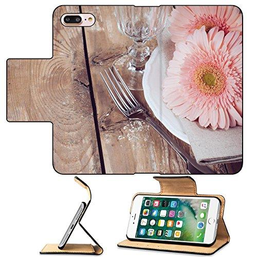 MSD Premium Apple iPhone 7 Plus Flip Pu Leather Wallet Case Vintage dining table setting with pink gerberas napkin and cutlery wooden board IMAGE 23994110