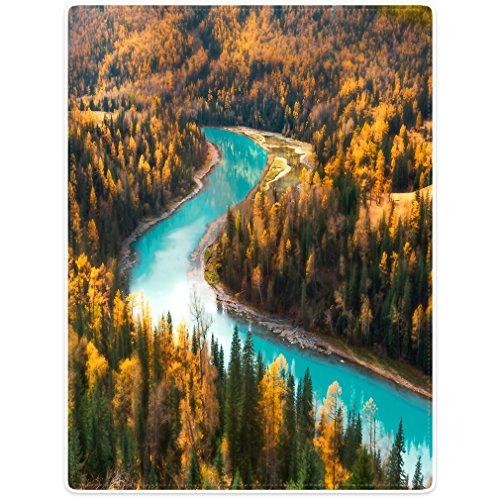 "TSlook Super Soft Warm Blankets Sofa Bed Throw Fall Forest Nature River Landscape Poster 50"" x 80"""