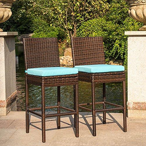Sundale Outdoor 2 Pcs All Weather Dining Chiars Patio Furniture Set Brown Wicker Barstool with Cushions, Blue