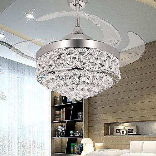 RS Lighting The Ceiling Fans Art Decoration K9 Crystal-42 inch Retractable Blades Ceiling Fan With Remote and Lights-for Indoor Outdoor Living,Dining Room Corridor (Chrome)