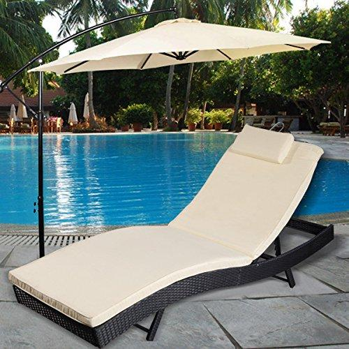 TANGKULA Adjustable Pool Chaise Lounge Chair Outdoor Patio Furniture PE Wicker W/Cushion
