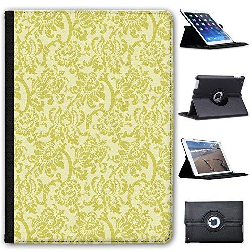 "Leather Case For Apple iPad 9.7"" 5th Generation (2017 Version) - Yellow Floral Wallpaper Design"