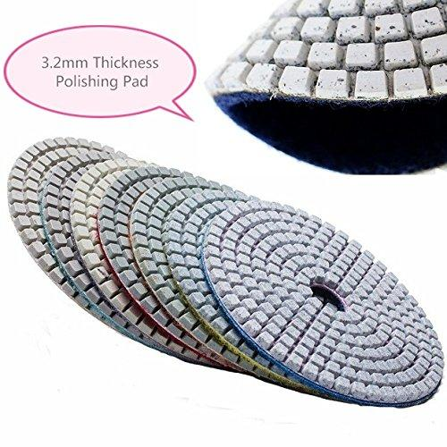 "8 Inch 8"" Diamond Polishing Pad 10 Pieces for Granite Concrete Sander Glass Marble Counter top Terrazzo Floor Tile gloss maintenance shine restoration masonry surface smoothing lapidary repair"
