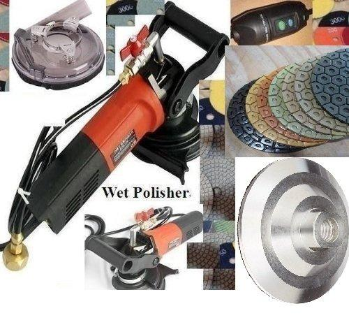 "7"" Variable Speed Wet Polisher Dust Shroud 7 Inch Diamond Polishing Pad 8 + aluminum backer Granite Marble Stone Quartz Masonry Counter top floor tile grinder smoothing buffing fabrication sander"