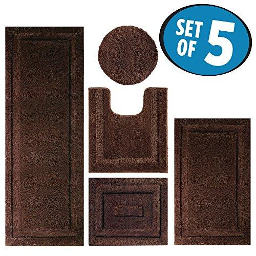 mDesign Contour, Toilet Seat Cover, and Bathroom Mat Combo Pack - Set of 5, Chocolate