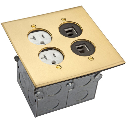 Enerlites 975510-C-D Floor Box Coin Open Assembly, 2 Gang 20A Tamper/Weather Resistant Duplex Receptacle Electrical Outlet, RJ45 Ready Ports