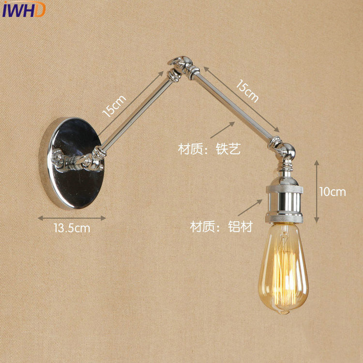 Adjustable Long Arm LED Wall Lamp Up Down Metal Silver Loft Edison Industrial Wall Sconce Retro Antique Vintage Wall Light