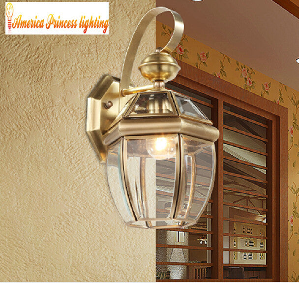 All copper craft aisle balcony wall lamp bedside lamp, copper material, E27, AC110-240V