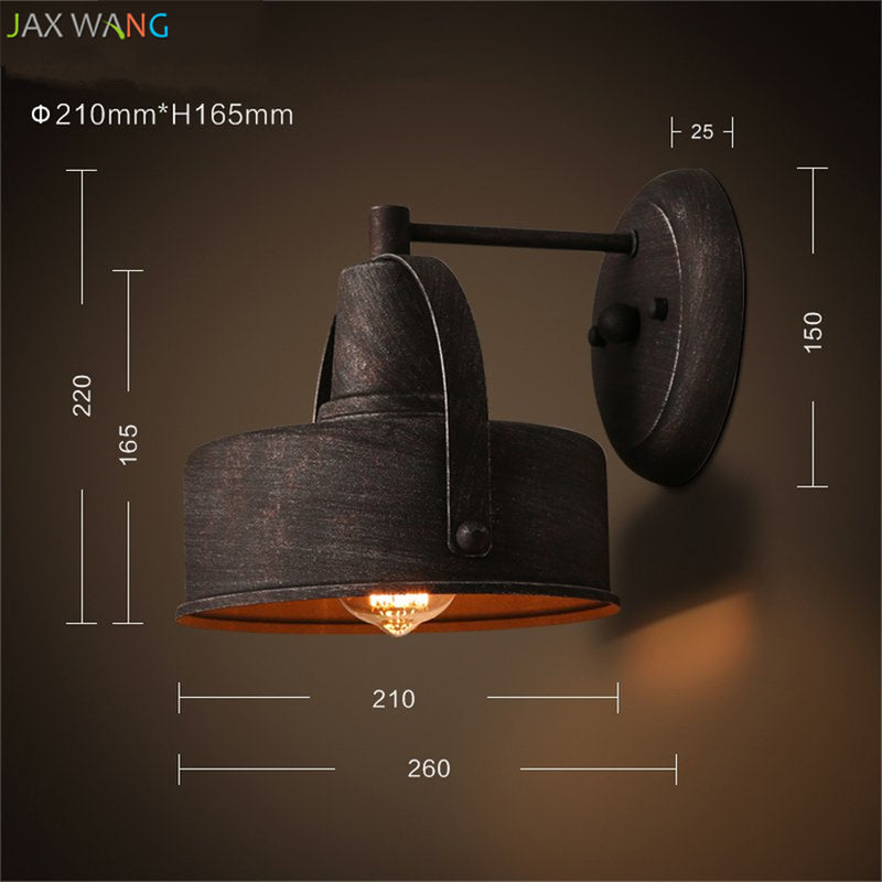 American Industrial Vintage Wall Lamp Retro Loft LED Wall Light Plated Lamparas Stair Bathroom Iron Sconce Abajur Luminaria Deco