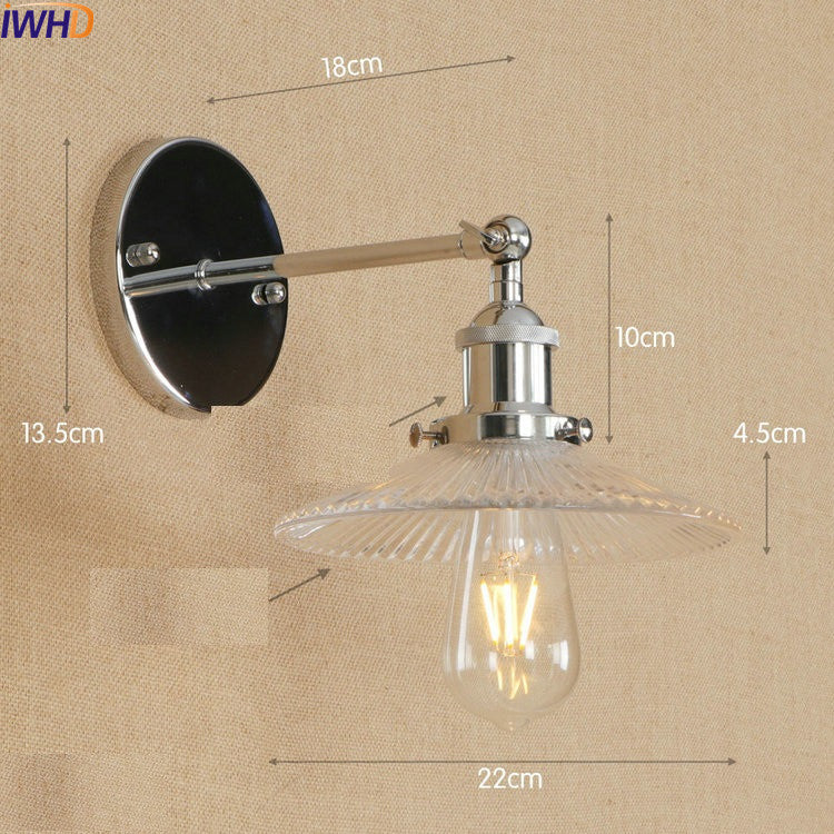 Antique Vintage LED Wall Lamp Glass Edison American Adjustable Arm Light Wall Sconce Lampara Pared LED Stair Lights Lumianire