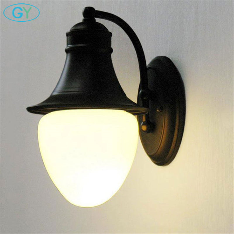 Art Deco Retro Vintage Wall lamps Milky Frost glass lampshade outdoor Waterproof aisle garden yard porch wall lamp sconce