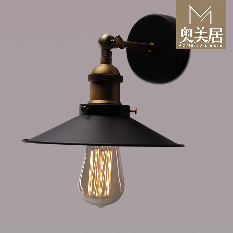 Artpad Industrial Loft Vintage Wall Lamp Retro Metal Sconces E27 AC110-220V Adjustable Swing Arm Living Room Ceiling Lamp Black