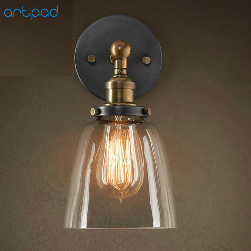 Artpad Retro American Country Creative LED Wall Lamp with Transparent Glass Sconces E26 E27 holder for Restroom Bathroom decor