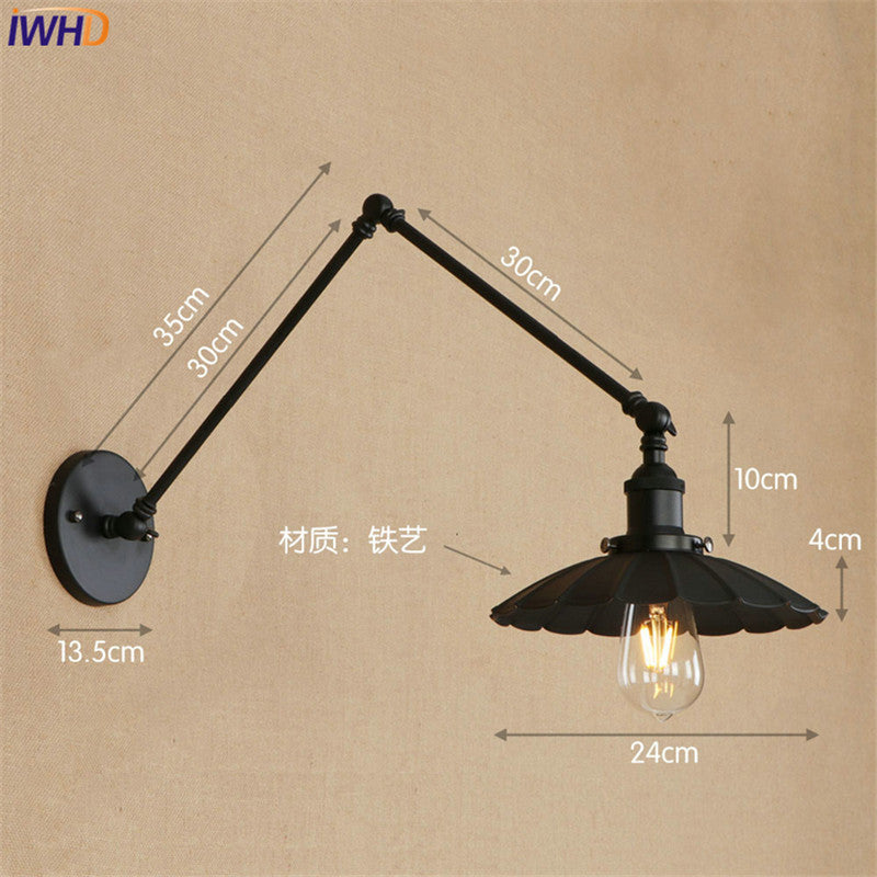 Black Retro Vintage LED Wall Light Edison Wandlamp Swing Long Arm Wall Lamp Loft Style Industrial Lighting  Luminaire Lampen