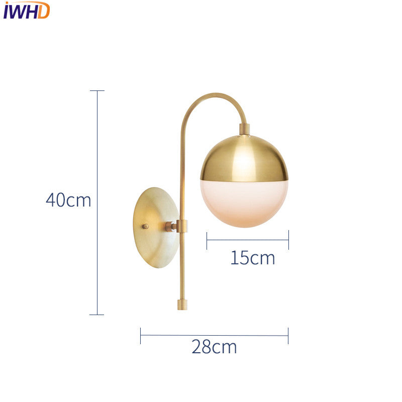 Copper Glass Ball LED Wall Lamp Vintage Home Indoor Lighting Bathroom Mirror Light Retro Wall Lights Fixtures Arandela Luminaire