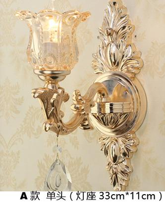 Delux glass shade gold wall lamp E14 E12 project Commercial lighting crystal drops living room hotel mirror Led wall Applique